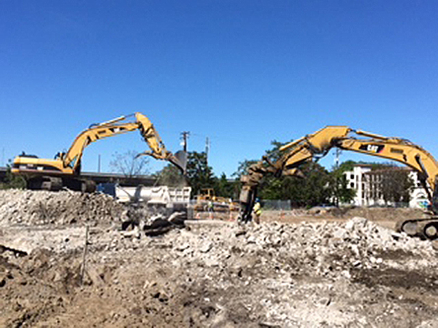 Excavators During Demolition